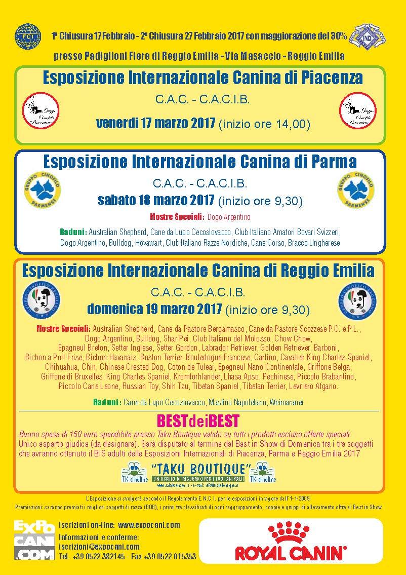 Expocani Calendario.Esposizione Internazionale Di Piacenza Parma Reggio Emilia